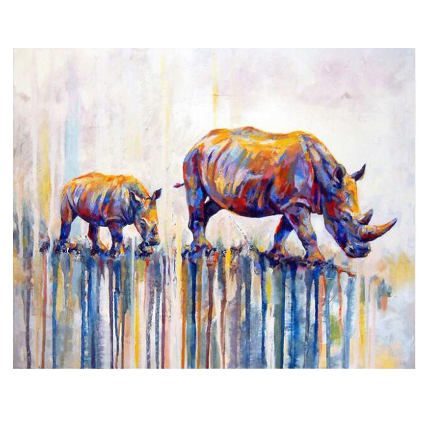 WEEN Abstract Animal DIY Painting By Numbers Kits Rhinoceros Wall Painting Acrylic Paint On Canvas Unique Gift For Home Decors in Painting Calligraphy from Home Garden