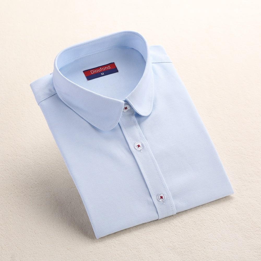 Dioufond Formale Bluse Frauen Weißes Hemd Baumwolle Büro Tops - Damenbekleidung - Foto 3