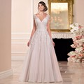 Wedding Dress Plus Size V-Neck Lace L Sleeve Wedding Dresses 2017  Vestido De Noiva