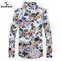 ШАН БАО высокое качество brand clothing удобный хлопок цветочный принт рубашка 2017 мужская мода осень Тонкий с длинными рукавами рубашка