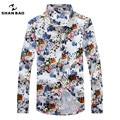 Shan bao marca de alta qualidade clothing confortável algodão camisa estampa floral 2017 outono dos homens moda slim longo-sleeved camisa
