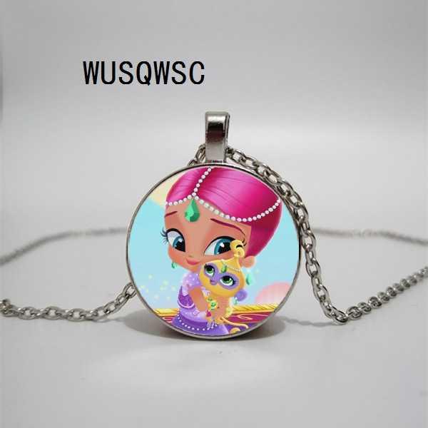 WUSQWSC для маленьких девочек и мальчиков ожерелье из мультфильма Милая сестра Тала Nahal Аниме Характер стекло кабошон короткие цепочки ожерелья