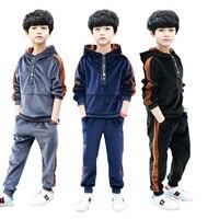 Boys clothes sport suit gold velvet boys clothing sets school kids autumn suit long sleeve children clothing kids tracksuit 12Y