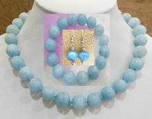 BRAZILIAN blue BEAD NECKLACE bracelet earrings sets 14MM(China)