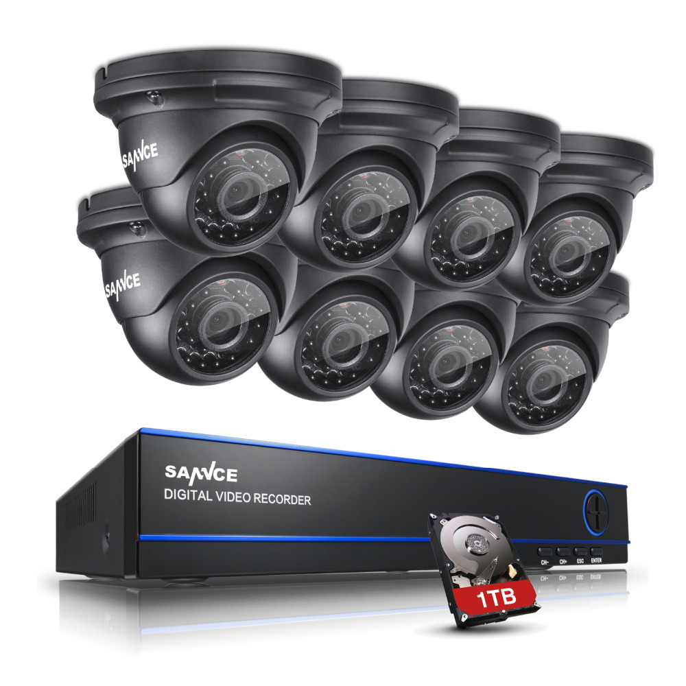 bilder für SANNCE 1080 P HD Video 8CH AHD DVR Indoor Outdoor IR Security Camera System 1 TB HDD