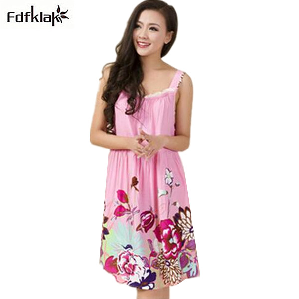 Home Clothes Sleepwear Women Nightgown Sexy Strapless Print Womens