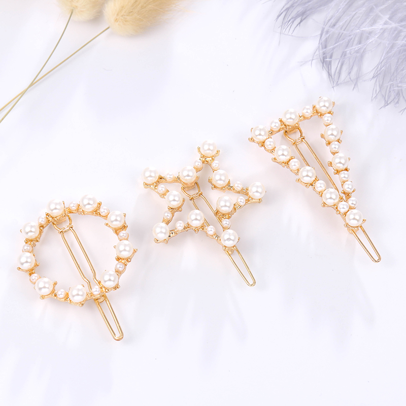 Fashion Jewelry Hair Accessories Star / Moon / Circle Geometric Simulated Pearl And Metal Hair Pins For Women Or Girls(China)