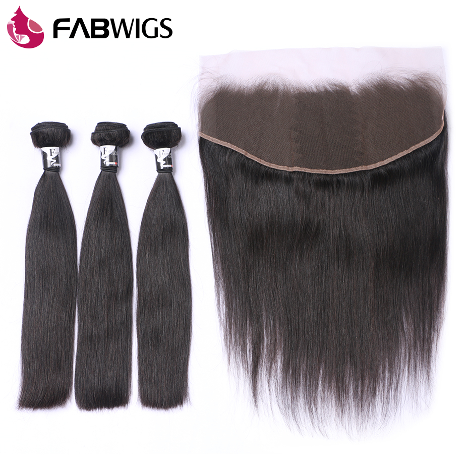Fabwigs Malaysian Hair Bundles with Closure 13x4 Straight Human Hair Bundles with Lace Frontal Closure Remy