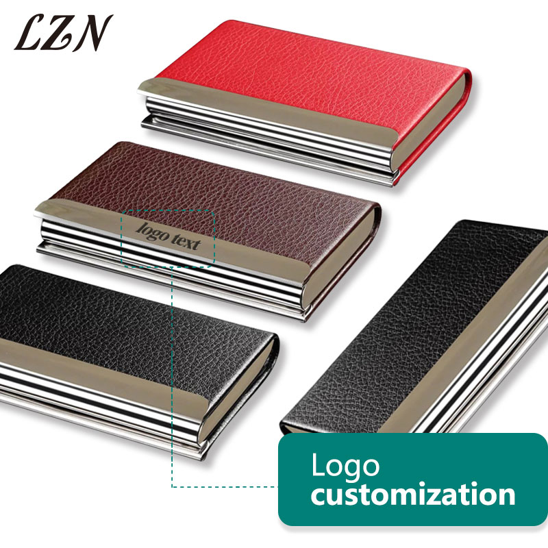 LZN Aluminum PU Leather Business Credit Card Holder For Women Men Steel Portable ID Name ...