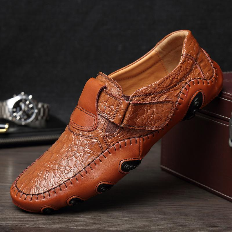 New Style Men Casual Shoes Hand Made Genuine Leather Men Shoes Comfortable Flat Shoes Men Soft Light Fast Free Shipping bimuduiyu new england style men s carrefour flat casual shoes minimalist breathable soft leisure men lazy drivng walking loafer