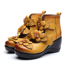 2017 High Wedges Platform Pumps For Women Brand Genuine Leather High Heels Platform Round Toe Pumps Women's Shoes Zapatos Mujer