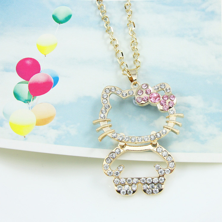 симпатичные привет Китти ювелирных изделий выдалбливают большой котенок кошка серебряная цепь кулон ожерелья для девочек мода ожерелье женщины нке-э35