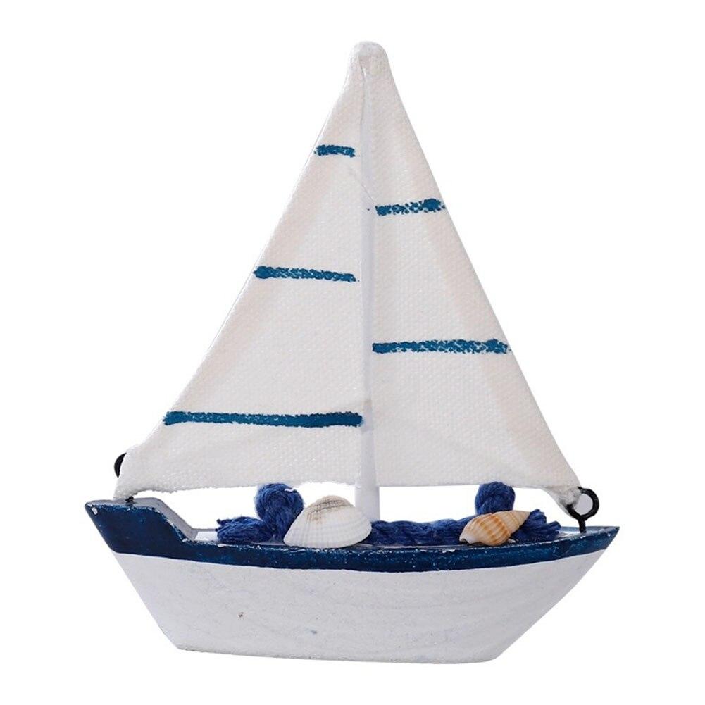 Wooden Children Retro Furnishing Bedroom Office Toys Mini Sailing Boat Model Home Mediterranean Style Props Gift Nautical Decor