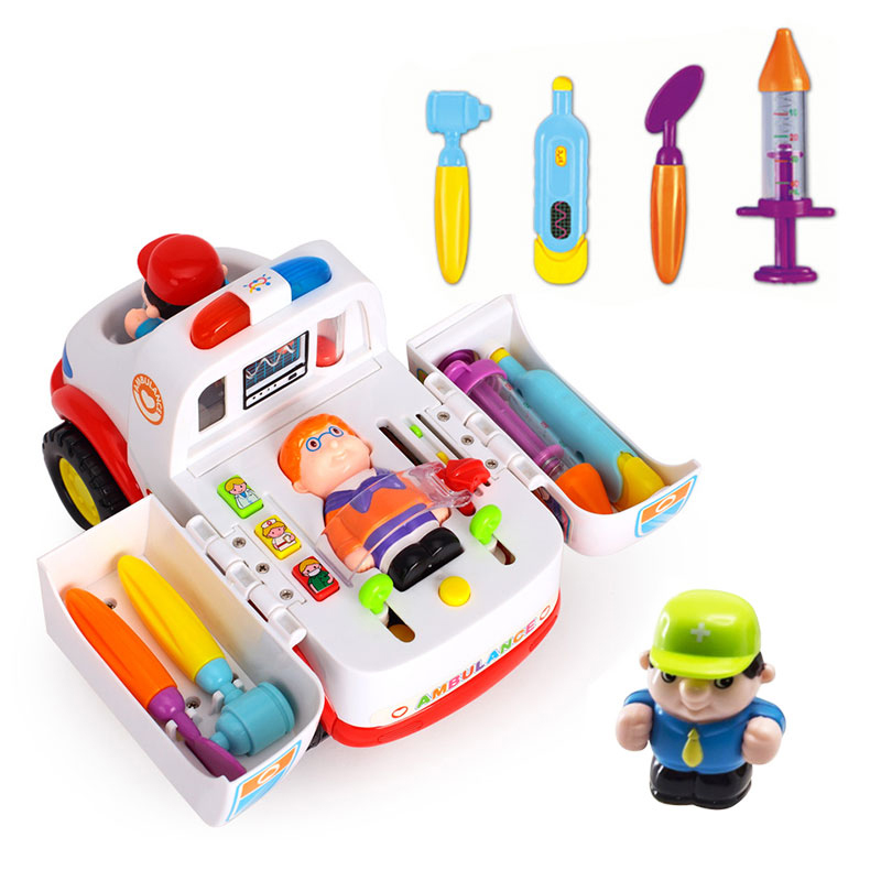 2-in-1 Ambulance Doctor Vehicle Set Baby Toys Pretend Doctor Set and Medical Kit Inside Bump and Go Toy Car with Lights & Sounds new 2016 pretend play toys medical kits doctor s bag playsets learning education toy set doctorm200o