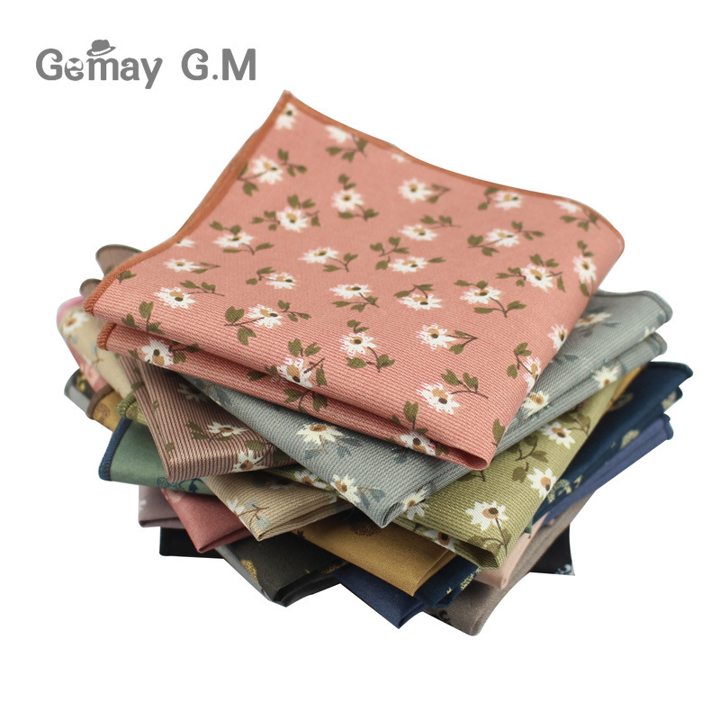 Brand Cotton Polyester Handkerchief Floral Printed Suits Pocket Square For Wedding Hankies For Men Brand Pocket Towel