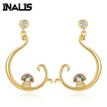 INALIS Fashion Delicate Drop Earrings Gold Plated 925 Sterling Silver Fish Hook with Mushroom Dangle Brincos for Women Party