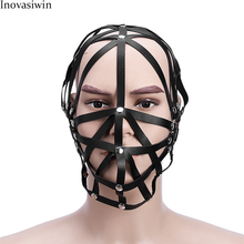 New Sex PU Leather BDSM Bondage Hoods Zipper Head Sexy Mask Harness With Zipper Mouth Fetish Slave Restraint Sex Toy For Couple