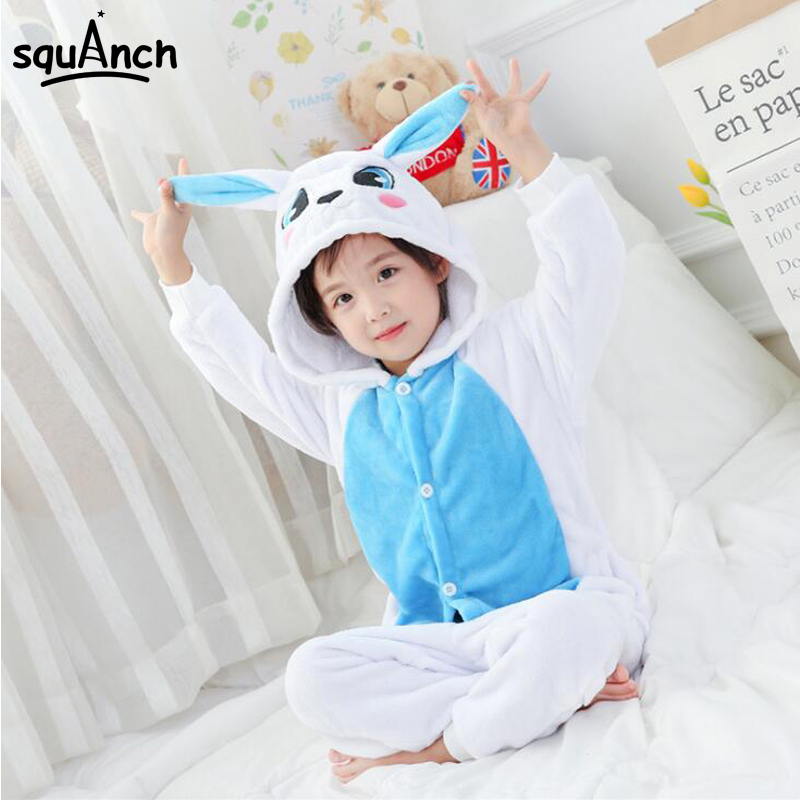 Animal Onesie Kids Rabbit Pajamas Blue Pink Cute Overall Boys Girls Cartoon Costume Carnival Party Suit Winter Warm Soft Sleep