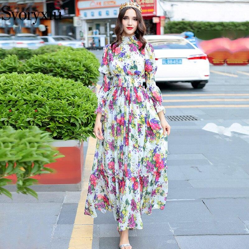 Kadın Giyim'ten Elbiseler'de Svoryxiu Yüksek Kalite kadın Yaz Plaj Şifon Maxi Elbise Zarif Esneklik Bel Çiçek Baskı Pist Maxi uzun elbise'da  Grup 1