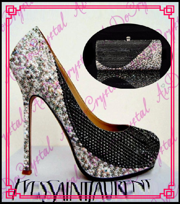 Aidocrystal black-white sheel design crystal pumps thin heel ladies wedding party shoes and matching bag aidocrystal wholesale newest 2016 high heel black crystal shoes for girl