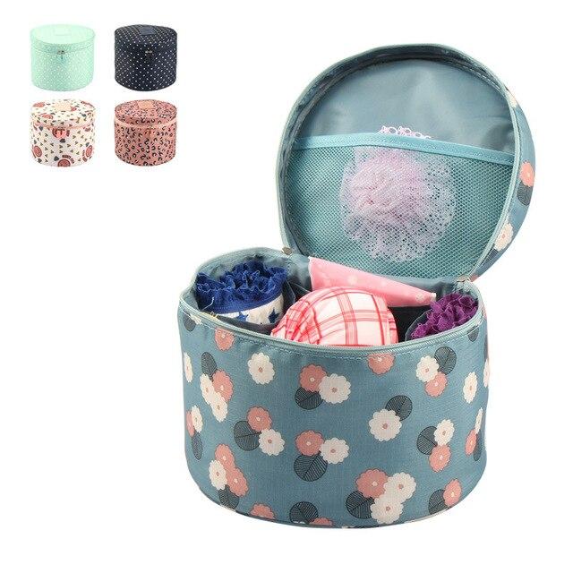 New Women's Cylinder Pattern Bra Underwear Storage Bags Portable Travel Wash Cosmetic Toiletry Handbags Makeup Bag