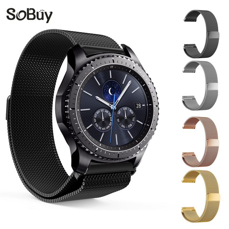 So buy for Samsung Gear S2 S3 S4 Huawei intelligent watch strap stainless steel band magnetic wristband bracelet 23 22 20 18mm