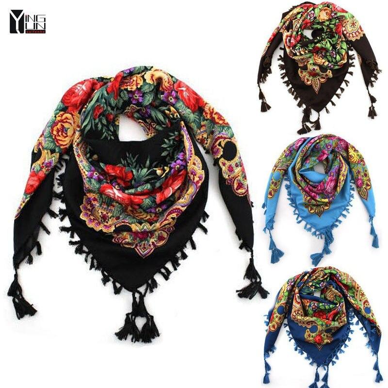 2017 nueva moda cuadrado grande bufanda impresa mujeres marca Wraps caliente-venta señoras de invierno bufandas algodón india floural diadema