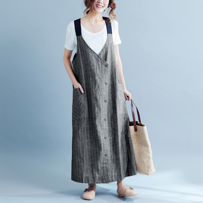 Women Striped Dress 2018 Summer Sexy Strap V Neck Sleeveless Casual Loose Solid Long Maxi Dresses Plus Size Vestidos