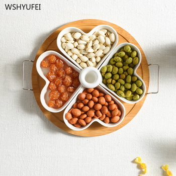 Direct wooden tray ceramic fruit plate round love division simple dried fruit platter candy box home decoration new year gift