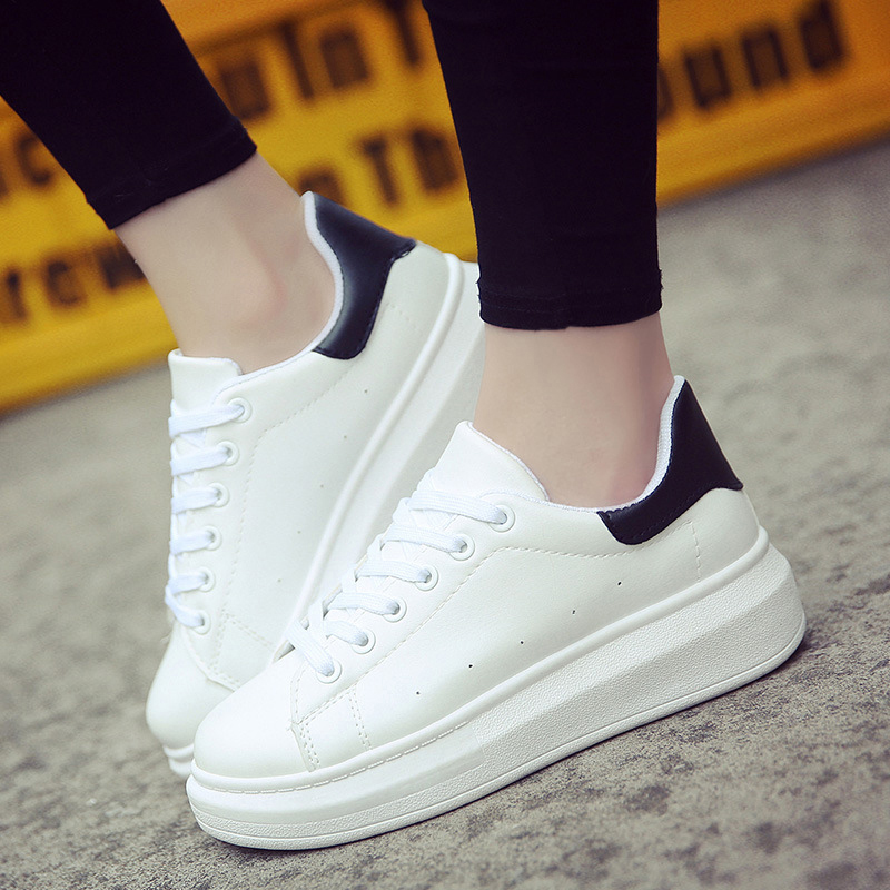 Women Sneakers 2019 Women Caual Shoes Fashion White Sneaker Round Toe Women White Shoes Lace-Up Platform Shoes Zapatillas Mujer(China)