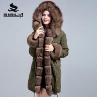 SISILIA 2018 real fur coat winter jacket women parka big raccoon fur collar fox fur coat winter
