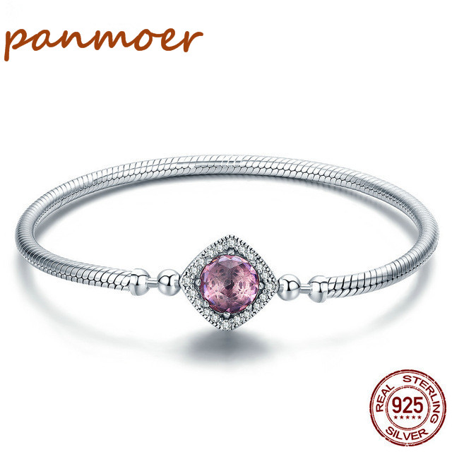 New 2018 Authentic 100% 925 Sterling Silver Pink AAA Cubic Zircon Charm Strand Bracelet for Women fit pandor DIY style Jewelry