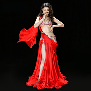 Image 5 - Professional Egyptian belly dance Original Dance dress Handmade Bra+Skirt+belt +Safety pants stage Performance Suits Costume