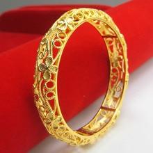 Hollow Out Dubai Golden Bangle Bracelet for Women stylish rhinestone hollow out elastic bracelet for women