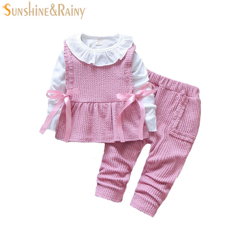 2018 Spring Baby Girl Clothes Baby Clothing Set Fashion Cotton Long-Sleeved T-shirt+Vest+Pants Newborn Baby Girl Outerwear Sets