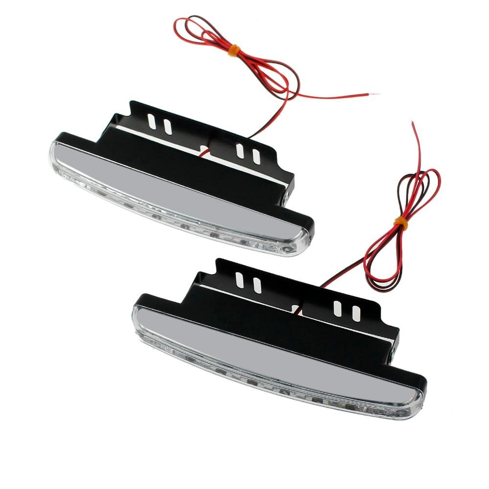 Neoteck 2 Pcs 8 LEDs Daytime Running Lights Driving DRL Fog Lamp Light Super White 12V Lights Bulbs Fpr Car Trucks