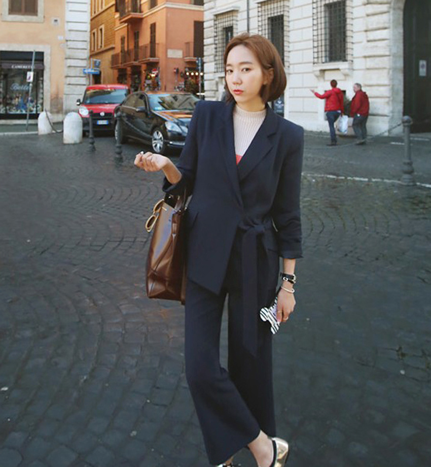 2017 New Thin Long Sleeved All Match Commuter Tie Wide Leg Pants Size Fasten Strip Elegant Women Dark Blue Women Suit