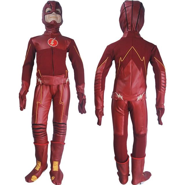 Superior Kids Children The Flash Season 4 Barry Allen Flash Cosplay Costume Deluxe  Halloween Costume Superhero Outfit