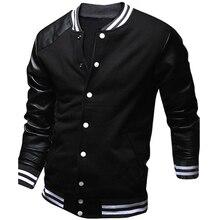 Cool Hochschule Baseball Jacke Männer 2016 Mode-Design Schwarz Pu leder Sleeve Herren Slim Fit Varsity Jacke Marke Veste Homme Xxl