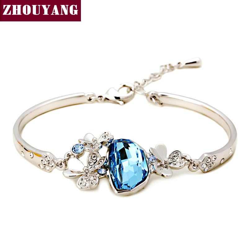 Top Quality ZYH206 New Style Clover Silver Color Bracelet Jewelry Austrian Crystal Wholesale