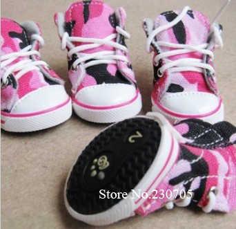 Hoge Kwaliteit 4 stks/partij Pet Dog Cat Footwear, Uitlaten Sneaker Schoenen, anti-slippen Camouflage Denim Canvas Schoenen Gratis Verzending