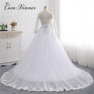 Image 2 - Boat Neck Beaded Sashes Vintage Wedding Dress 2020 Embroidery Appliques Pearls Crystal Beads Ball Gown Wedding Dresses W0007