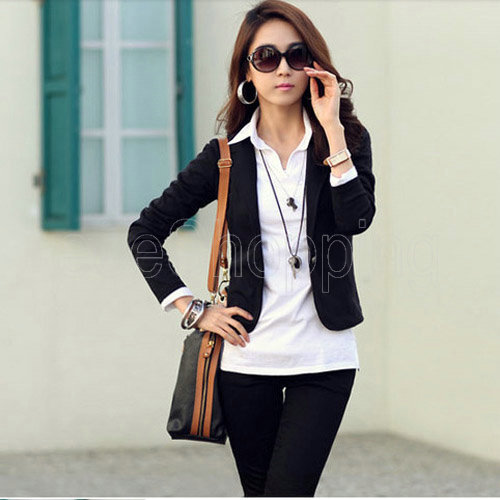 Aliexpress.com : Buy Q284 Korea Style OL Ladies Womens One Button ...