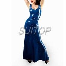 Latex Rubber tight Dress blue color sexy club long mermaid dresses  longuette  dovetail bobtail