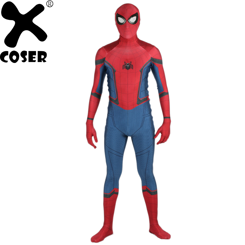 XCOSER Spiderman Zentai Spider-Man Homecoming Spider-Man Cosplay Battle Suit Deluxe Spandex Full Bodysuit Halloween Costume Men