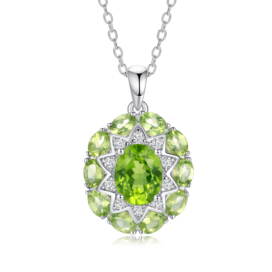 PJC Natural Gemstone 3.26cts Oval Peridot And 1.17cts White Topaz 925 Stling Silver Pendant With Chain