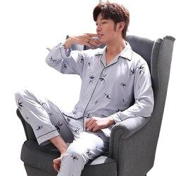 100% Cotton Pajama Sets for Men 2019 Spring Long Sleeve Pyjama Soft Comfortable Sleepwear Print Homewear Loungewear Home Clothes