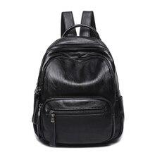Для женщин рюкзак Повседневное школьная сумка для подростка Обувь для девочек мягкая молния Рюкзаки черный