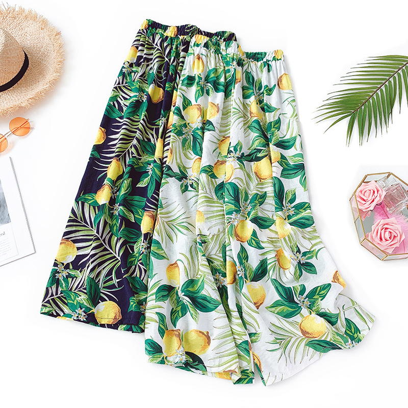 ZADORIN 2019 Women Printed Cotton Linen Summer   Pants   Bohemian High Waist Thin   Wide     Leg     Pants   Women Loose Beach trousers pantalon