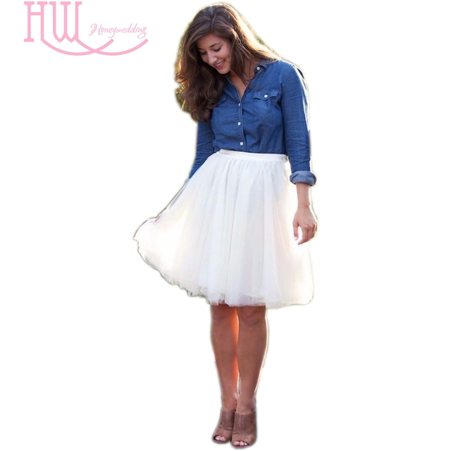2017 Hot White Tulle Skirt High Waist Tutu Skirts Women Faldas De Tul New Fashion Adult